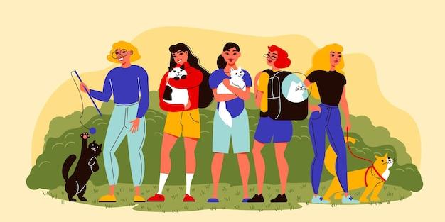Haustierkomposition mit außenansicht des öffentlichen gartens mit weiblichen charakteren von meistern mit ihrer haustierillustration