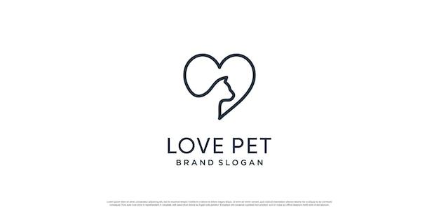 Haustierlogo mit kreativem element mit hunde- und katzenobjekt premium-vektor teil 1