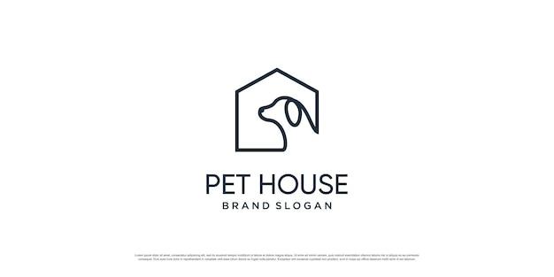 Haustierlogo mit kreativem element mit hunde- und katzenobjekt premium-vektor teil 2