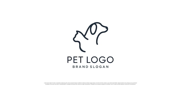 Haustierlogo mit kreativem element mit hunde- und katzenobjekt premium-vektor teil 3