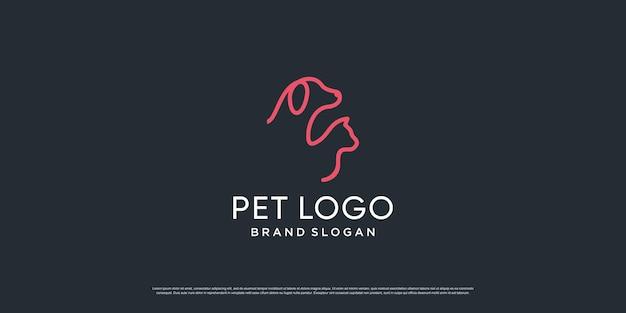 Haustierlogo mit kreativem element mit hunde- und katzenobjekt premium-vektor teil 4