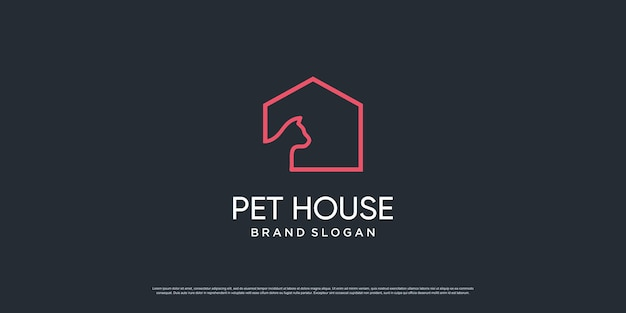 Haustierlogo mit kreativem element mit hunde- und katzenobjekt premium-vektor teil 6