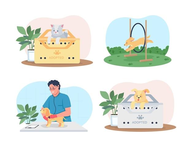 Haustierpflege-set. ausbildung, medizinische versorgung. tierarzt, hunde flache charaktere auf cartoon. bedruckbarer aufnäher für katze in adoptionsbox