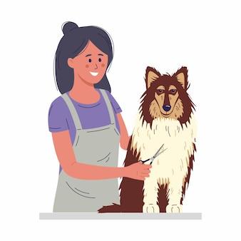 Haustierpflegekonzept eine junge frau schneidet eine hundefellillustration