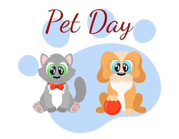 Haustiertag welturlaub niedliche cartoon-katzen- und hundefiguren lustige haustiere welpen und kätzchen sitzen zu