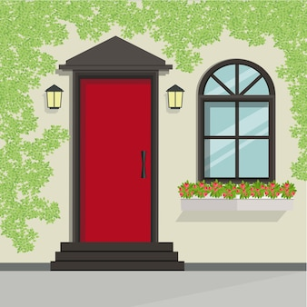 Haustür und fensteransicht, vektor-illustration