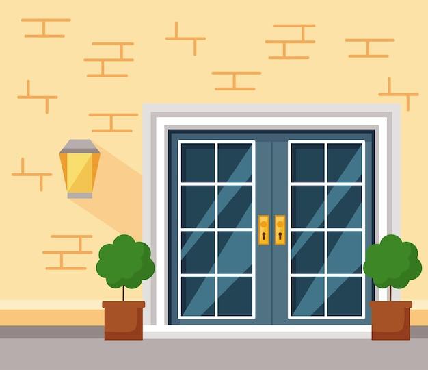 Haustürlampe und pflanzen des gelben hauses