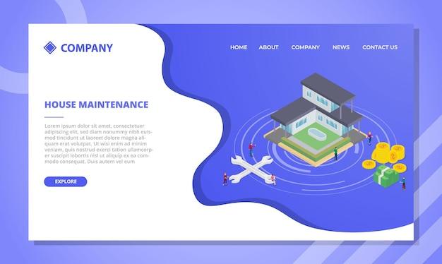 Hausverbesserungs- oder wartungskonzept für website-vorlage oder landing-homepage mit isometrischer vektorillustration