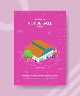 Hausverkaufskonzept für vorlagenbanner und flyer mit isometrischem stil