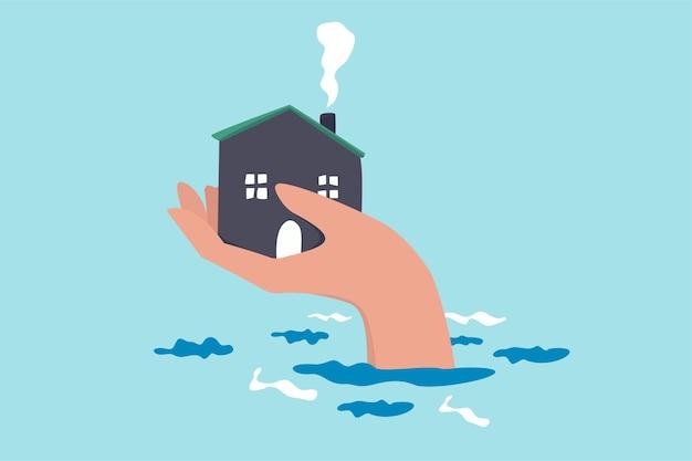 Hausversicherungsschutz vor katastrophen, sicherheit und rettung vor sturm und überschwemmung, hauspflegekonzept, große menschliche hand, die dem haus über dem hochwasserspiegel hilft, vor schäden zu schützen.