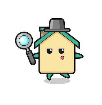 Hauszeichentrickfigur, die mit einer lupe sucht, süßes design