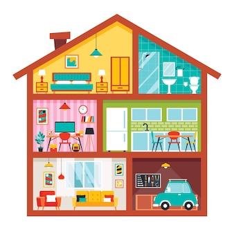Hauszimmer mit flachen möbeln