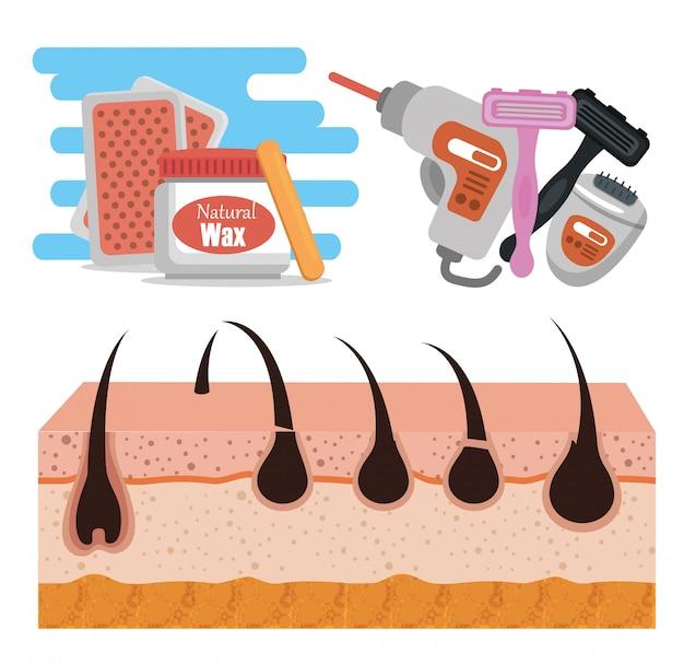 Haut mit werkzeugen zur haarentfernung