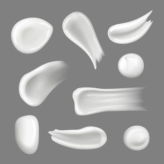 Hautcremes tropfen. cremige spritzer und abstrich feuchtigkeitscreme naturkosmetik für frauen realistische sammlung