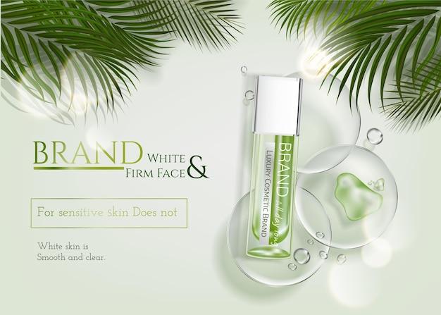 Hautpflege-anzeigen mit tropischer blattdekoration auf grünem elementhintergrund in 3d-darstellung