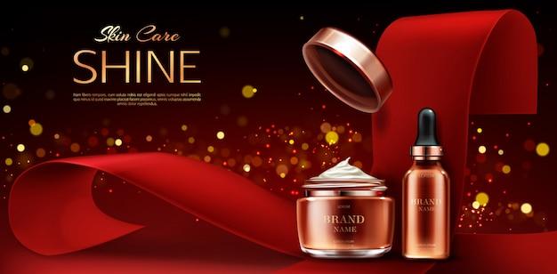 Hautpflege beauty-produktlinie, cremetiegel und serum-pipette rohr auf rot