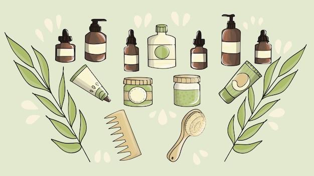 Hautpflege-doodle-set. natürliches bio-kosmetikset. bunte flaschen, gläser und tuben.