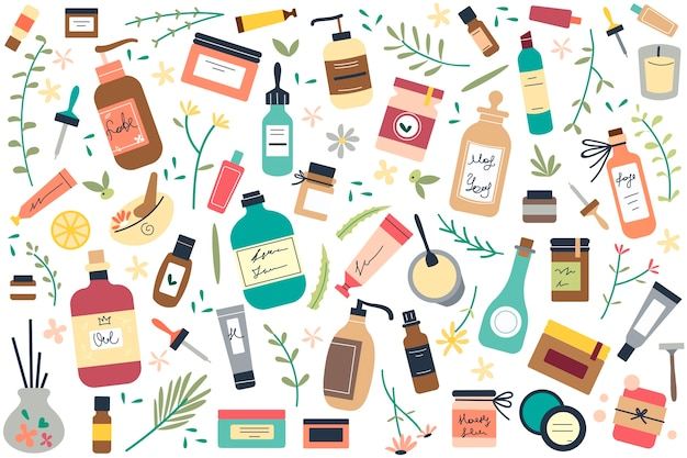 Hautpflege-doodle-set.