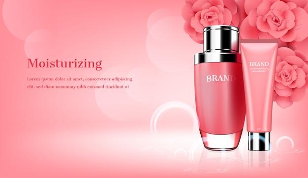 Hautpflege eingestellt mit rosa blumenschablone