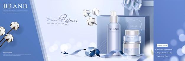 Hautpflege-geschenkset-banner-banner mit baumwolle und bändern auf glitzernder bokeh-oberfläche im 3d-stil