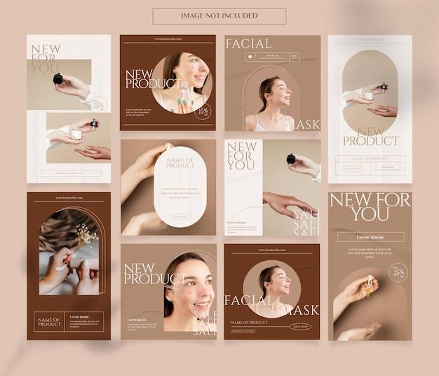 Hautpflege instagram geschichten feed post vorlage