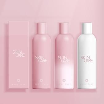 Hautpflege / kosmetik / gesundheitswesen boston flasche in rosa hintergrund