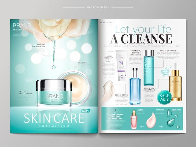 Hautpflege-magazinschablonenillustration