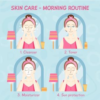 Hautpflege-routine für frauen