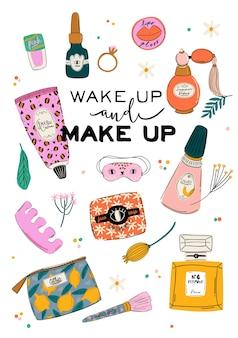 Hautpflege-routine mit natürlichen bio-kosmetikprodukten in flaschen, gläsern, tuben für die haut im trendigen doodle-stil. netter motivierender und inspirierender frauenpower-schriftzug. illustration