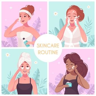 Hautpflege-routinekonzept 4 kompositionen quadratisch mit frau, die reinigendes gesicht wäscht, das pflegende creme anwendet