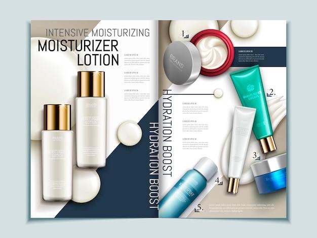 Hautpflegebroschürenschablone, reihe von kosmetischen produkten auf geometrischem hintergrundmagazin oder katalog in 3d-darstellung,