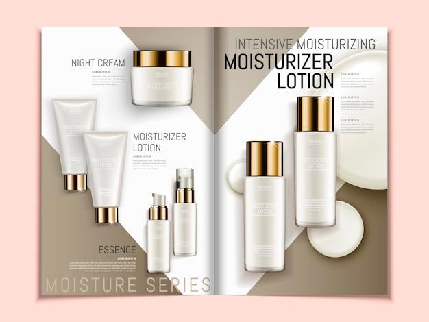 Hautpflegebroschürenschablone, reihe von perlweißen kosmetikprodukten auf geometrischem hintergrundmagazin oder katalog in 3d-darstellung, draufsicht auf s