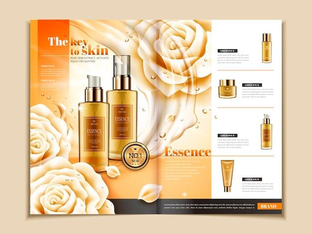 Hautpflegebroschürenvorlage, serie von hautpflegeprodukten auf zeitschrift oder katalog in 3d-darstellung, weiße rosen und fließende flüssige elemente