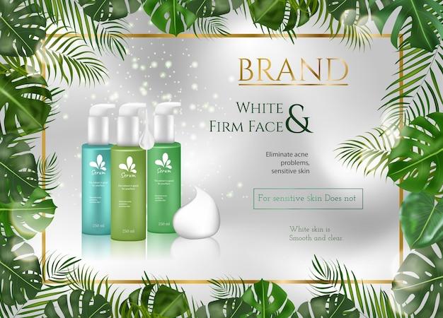 Hautpflegeflasche auf weißem und grauem hintergrund mit tropischen blättern und luxuriöser goldfarbe in 3d-darstellung