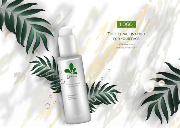 Hautpflegeprodukt anzeigen für werbung mit tropischen blättern auf marmorsteinhintergrund draufsicht