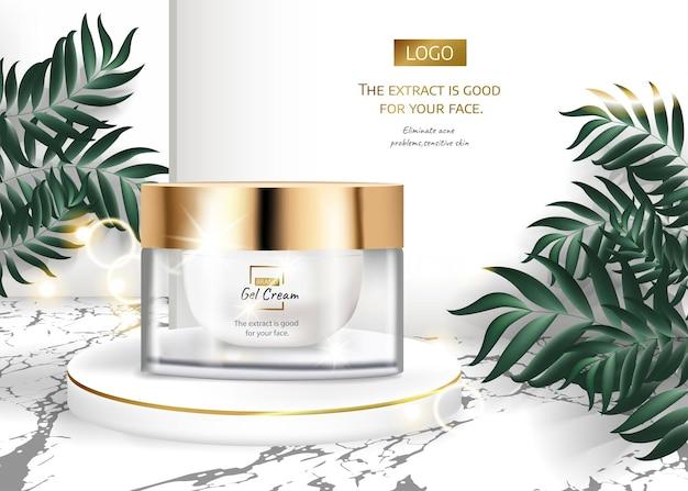 Hautpflegeprodukt anzeigen für werbung mit tropischen blättern auf marmorsteinhintergrund im mockup