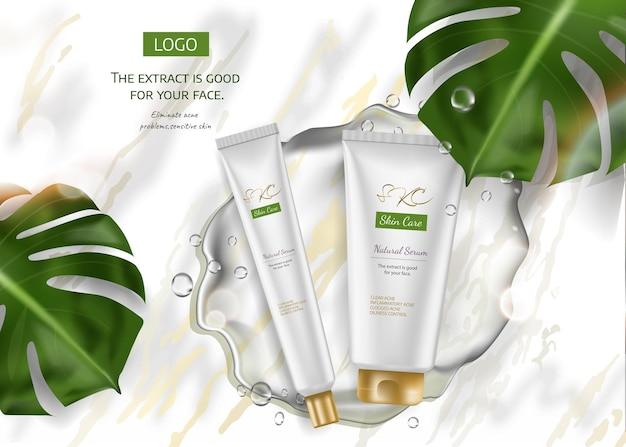 Hautpflegeprodukt anzeigen für werbung mit tropischen blättern auf marmorsteinhintergrund