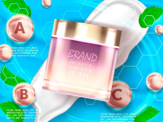 Hautpflegeproduktanzeigen mit grünen blättern in der illustration
