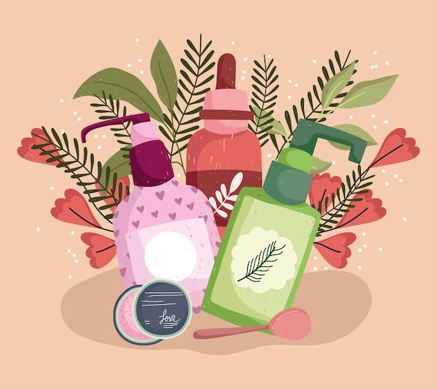 Hautpflegeprodukte mit blumen