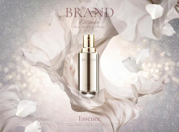 Hautpflegespray mit perlweißem chiffon und blütenblättern auf schimmerndem hintergrund