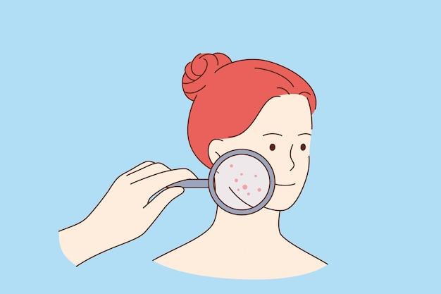 Hautprobleme und beautykonzept