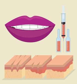 Hautschichten mit botox-injektion