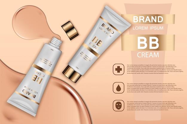 Hauttoner kosmetische produkte ad. 3d darstellung.
