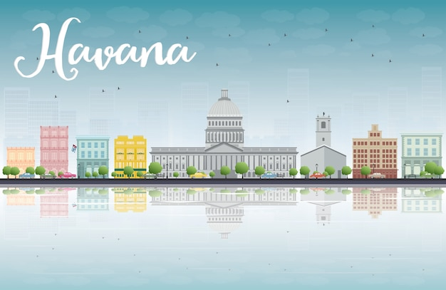 Havana skyline mit farbgebäude und blauem himmel