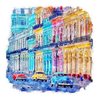 Havanna kuba aquarellskizze handgezeichnete illustration