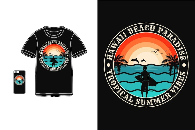 Hawaii beach vibes, t-shirt design silhouette retro-stil