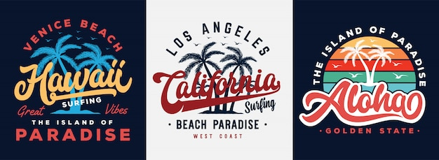 Hawaii, kalifornien und aloha setzen typografieslogan mit palmeabbildung auf den strand. thema vintage print design