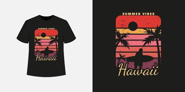 Hawaii-ozeanstrand-t-shirt-stil und trendiges kleidungsdesign mit baum- und mannsilhouetten, typografie, druck, vektorillustration.