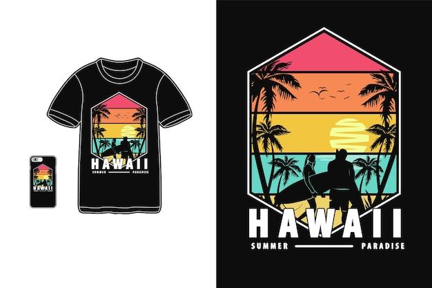 Hawaii sommerparadies design für t-shirt silhouette retro-stil