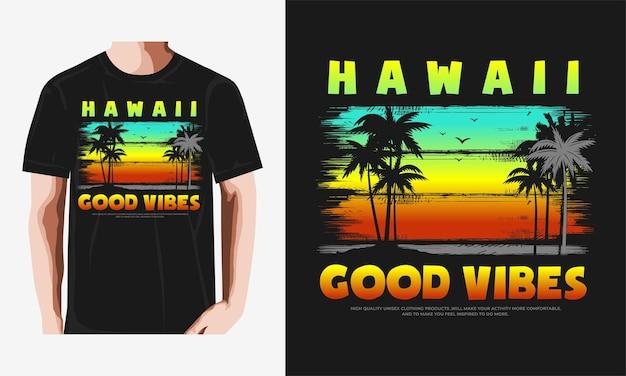 Hawaii strand typografie vintage illustration premium-vektor